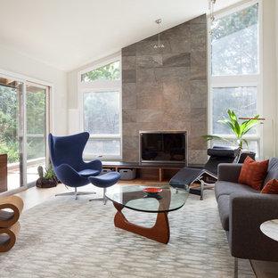 デンバーの中サイズのモダンスタイルのおしゃれな独立型ファミリールーム (白い壁、淡色無垢フローリング、標準型暖炉、コンクリートの暖炉まわり、壁掛け型テレビ、ベージュの床) の写真
