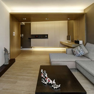Example Of A Trendy Family Room Design In Hong Kong Save Photo Modern Small Warm Apartment