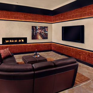 Large trendy open concept travertine floor family room photo in Phoenix with a wall-mounted tv, white walls, a ribbon fireplace and a plaster fireplace