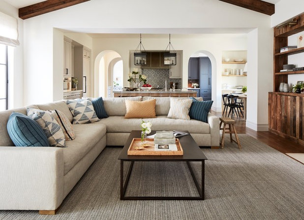 Transitional Family Room by Amanda Teal Design