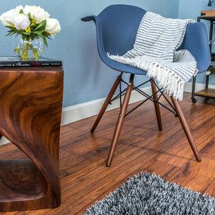 タンパのエクレクティックスタイルのおしゃれなオープンリビング (青い壁、無垢フローリング、茶色い床) の写真