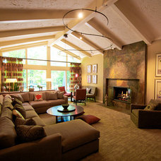 Eclectic Family Room by Monarch Interiors Inc