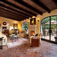 Mediterranean Family Room by Lindsey Adams Construction Inc.
