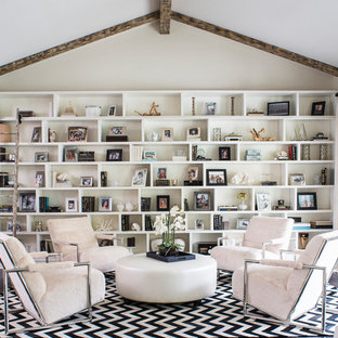 Family room library - transitional enclosed dark wood floor family room library idea in Los Angeles with white walls
