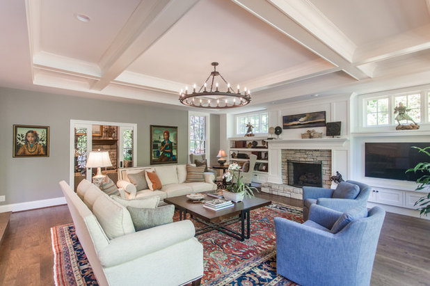 Transitional Family Room by Legacy Builders Group