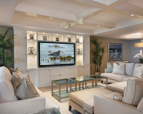 wall unit lighting. trendy open concept family room photo in miami with beige walls and a media wall unit lighting e