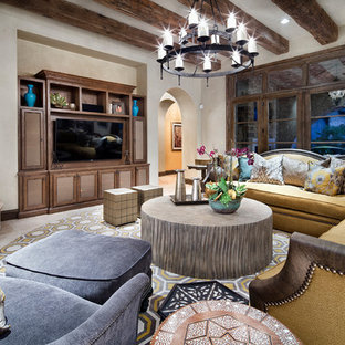 Huge tuscan enclosed beige floor and marble floor family room photo in Houston with white walls, a standard fireplace, a wall-mounted tv and a stone fireplace
