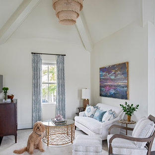 Inspiration for a transitional open concept dark wood floor and brown floor family room remodel in Charleston with white walls and a wall-mounted tv