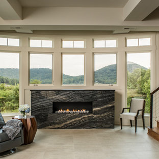 Mountain Contemporary Custom Home - Lower Fireplace