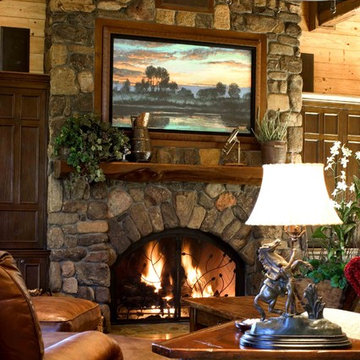 Black Mountain Ranch Living Room with Stone Fireplace