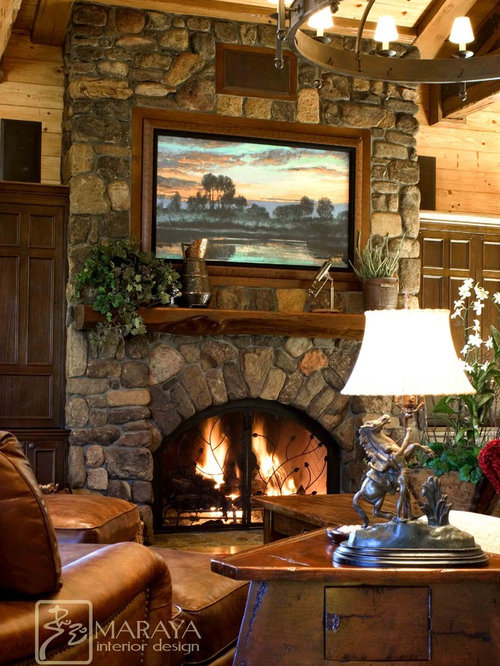 Country Family Room Design Ideas Renovations Photos With A Concealed Tv