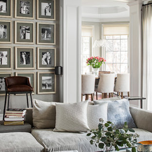 Inspiration for a mid-sized timeless family room remodel in New York with gray walls