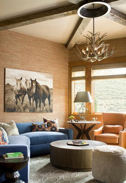 Rustic Family Room by Studio 80 Interior Design
