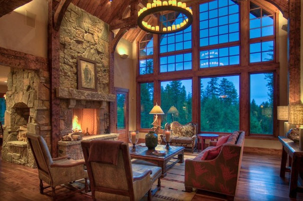 Rustic Family Room by Bear Mountain Builders