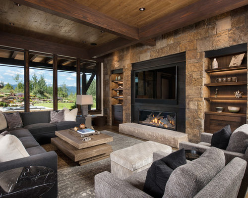 Example Of A Large Mountain Style Open Concept Medium Tone Wood Floor And  Brown Floor Family Part 43