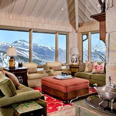 Rustic Family Room by Paula Berg Design Associates