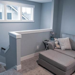 Ispirazione per un piccolo soggiorno stile americano stile loft con pareti blu, moquette, TV autoportante e pavimento grigio