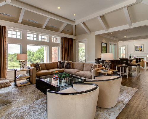 Living Room And Dining Combo Inspiration For A Transitional Open Concept Medium Tone Wood Floor Family Remodel In Denver
