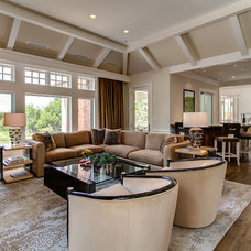 Transitional Family Room by KGA Studio Architects