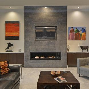 Cette photo montre une grand salle de séjour moderne ouverte avec un mur blanc, une cheminée ribbon, un manteau de cheminée en carrelage, un téléviseur fixé au mur, un sol en carrelage de céramique et un sol blanc.