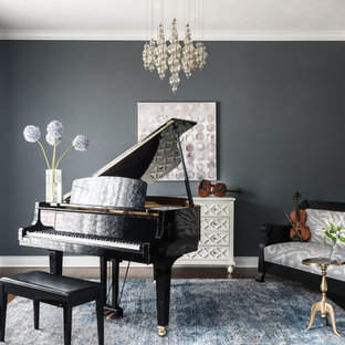 Music room with chandelier