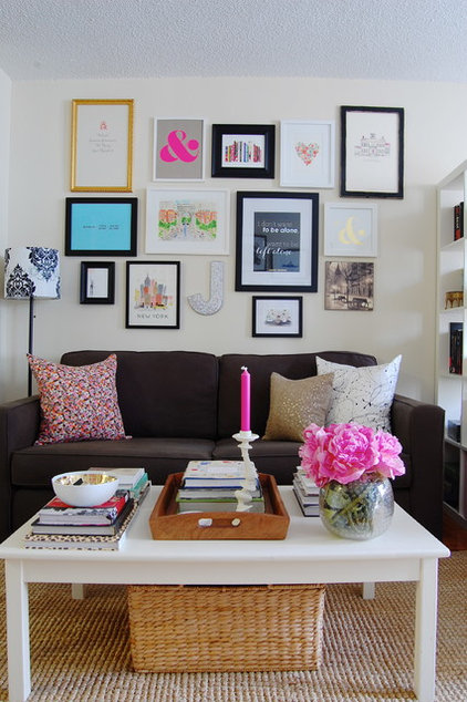 ideas on how to decorate a small living room my houzz sweet sophistication for a manhattan studio 28369