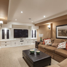 transitional family room by Becki Peckham