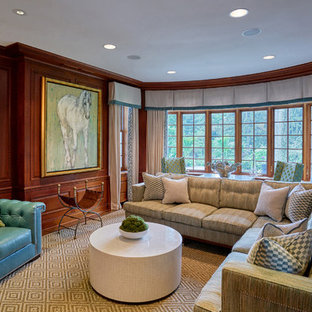 Family Room   Traditional Enclosed Dark Wood Floor And Brown Floor Family  Room Idea In New
