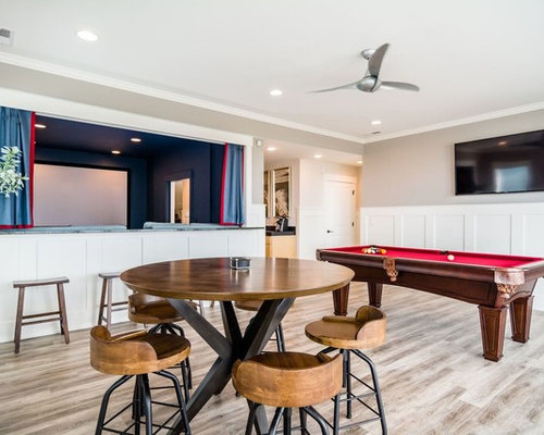 Example Of A Mid Sized Transitional Enclosed Light Wood Floor And Brown  Floor Game Room