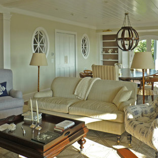 Example of a huge transitional open concept dark wood floor family room design in Boston with beige walls