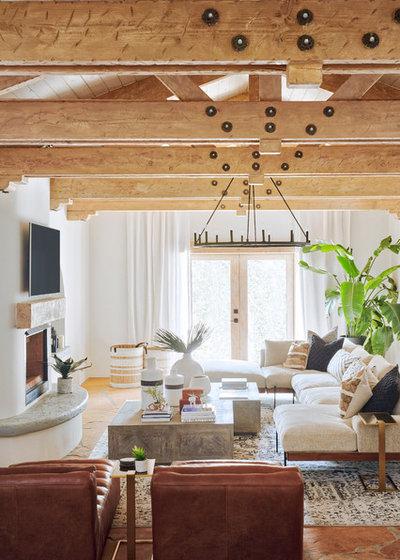 Mediterranean Family Room by Kimberley Kay Interiors