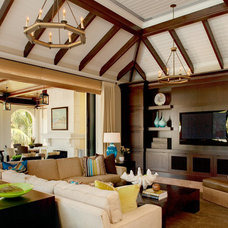 Tropical Family Room by Godfrey Design Consultants Inc