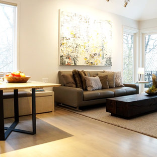 Example of a large minimalist open concept light wood floor family room design in Minneapolis with gray walls and a two-sided fireplace