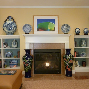Nature driven family room with Asian Blue and White Porcelain