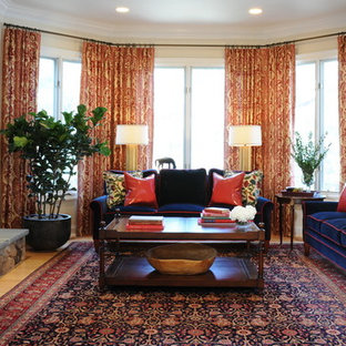Navy Blue and Red Family Room with Oriental Carpet