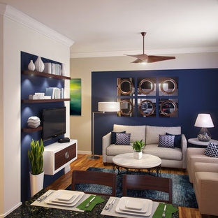 Navy Blue & White Small Family Room