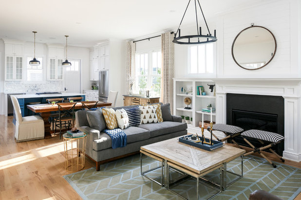 Transitional Family Room by Leslie Cotter Interiors