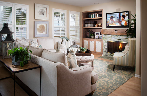 Beach Style Family Room by Style On a Shoestring