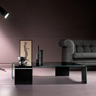 Idee per un grande soggiorno bohémian chiuso con sala della musica, pareti rosa, pavimento in cemento, nessuna TV e pavimento rosa