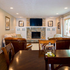 Transitional Family Room by Case Design & Remodeling Indy