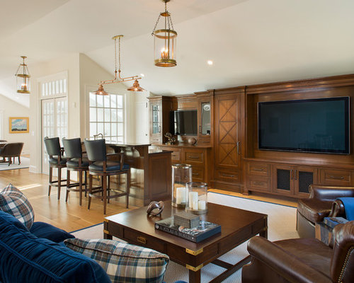 Inspiration For A Timeless Open Concept Medium Tone Wood Floor And Brown  Floor Living Room Remodel