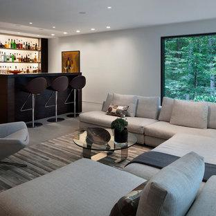 Ispirazione per un grande soggiorno minimalista aperto con angolo bar, pareti bianche e parquet scuro