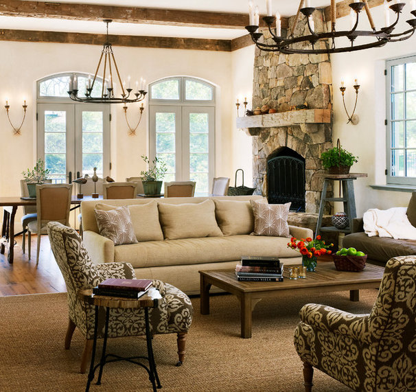 Mediterranean Family Room by Barnes Vanze Architects, Inc