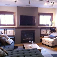 Eclectic Family Room New FIreplace with TV