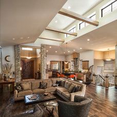 Transitional Family Room by High Pointe Custom Homes LLC