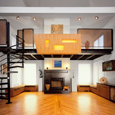Contemporary Family Room by Eisner Design LLC
