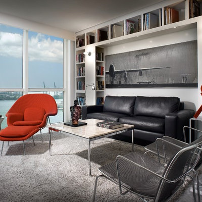 Inspiration for a contemporary family room remodel in New York with white walls