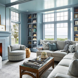 Example Of A Coastal Enclosed Dark Wood Floor And Brown Family Room Design In Providence
