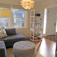 Transitional Family Room by Michelle Markert Interiors