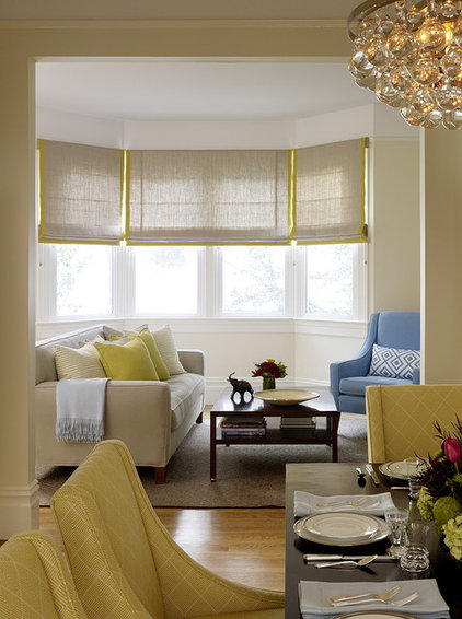 Transitional Family Room by Jute Interior Design